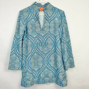 Jude Connally Blue Paisley Split Neck Tunic Top